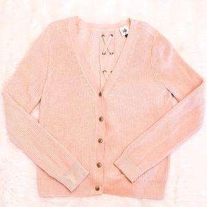 CAbi Cardigan Eliza Pink Lace Up Back Sweater